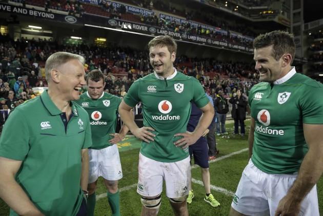Ireland's head coach Jared Payne Iain Henderson and Jared Payne