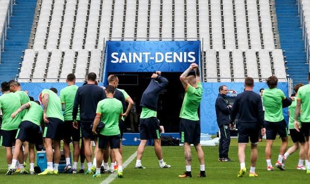 The Ireland team during training