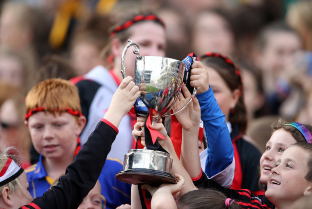 Down supporters celebrate with the Kay Mills cup