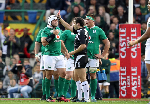 CJ Stander receives a red card from referee Mathieu Raynal