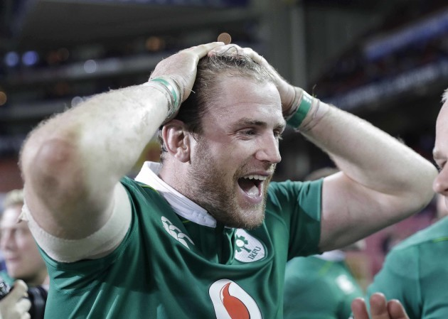 Jamie Heaslip celebrates after the match