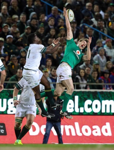 Springboks Lwazi Mvovo and Ireland's Andrew Trimble