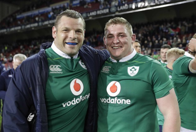 Mike Ross and Tadgh Furlong celebrate after the match
