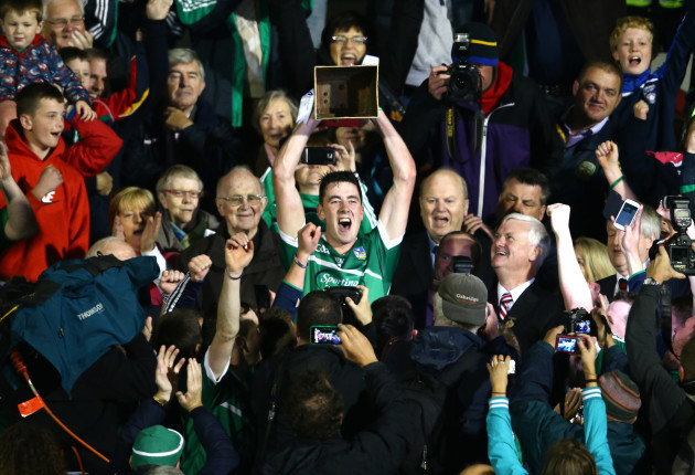 Diarmaid Byrnes lifts the trophy after Limerick's All-Ireland U21 win last September