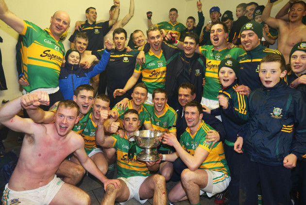 Gort players celebrate with the Tom Callanan cup