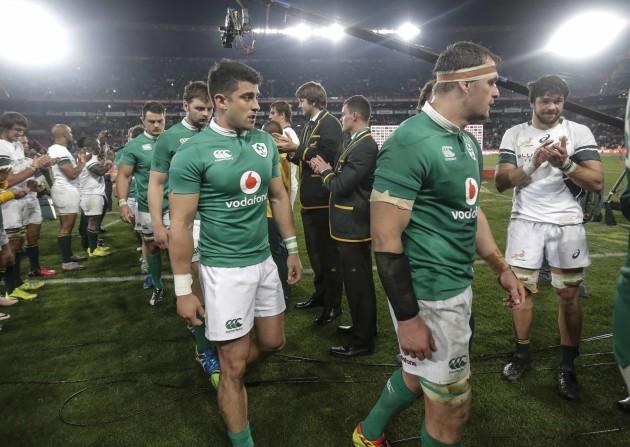 Ireland's Tiernan O'Halloran and Rhys Ruddock at the end of the match