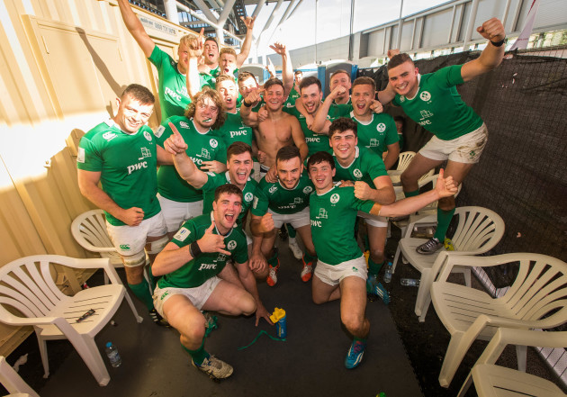 Ireland U20's celebrate in the changing rooms after the game
