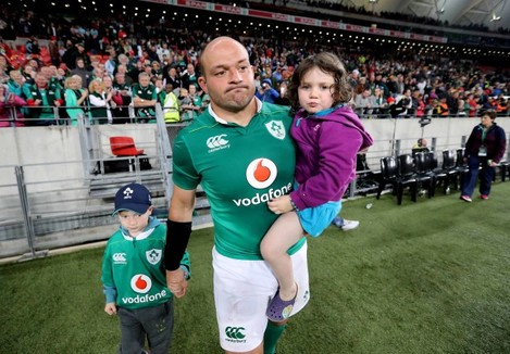 Rory Best with his children Ben and Penny after the match