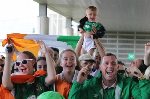 27/6/2016 Irish Fans at Dublin Airport. Three-year