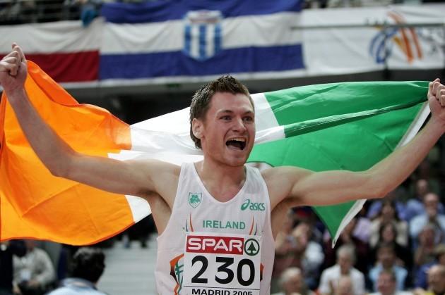 David Gillick celebrates winning the 400m final