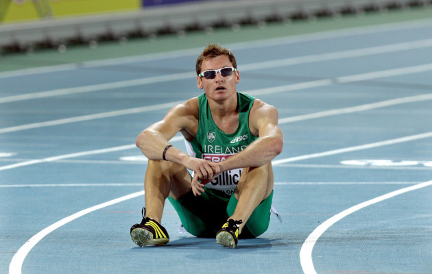 David Gillick sits on the track after finishing in 5th place