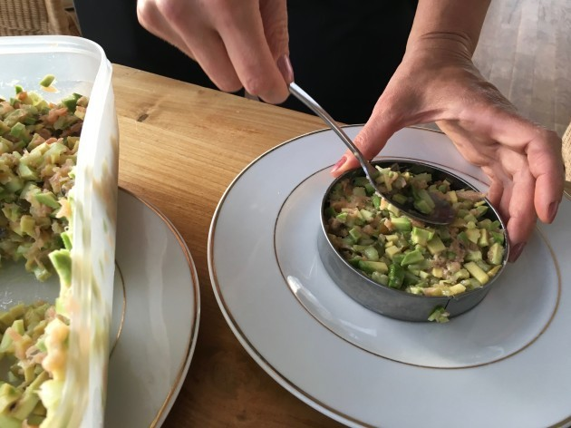 then-came-the-appetizer--salmon-tartare-it-also-had-four-ingredients-salmon-avocado-cucumber-and-pickle-nothing-else-added-as-noted-in-a-previous-article-here-olga-and-sean-prepare-the-riders-food-in-their-mobile