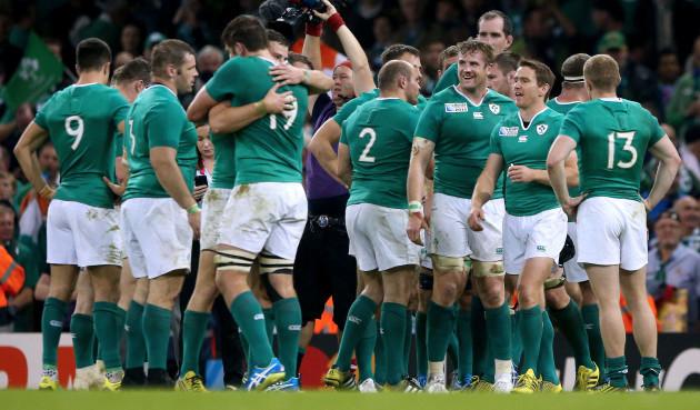 The Ireland team celebratin