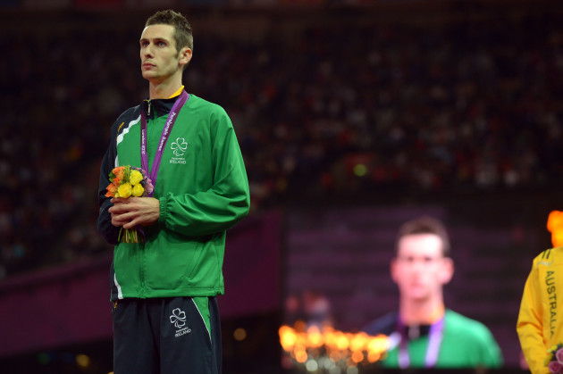 Michael McKillop celebrates winning gold