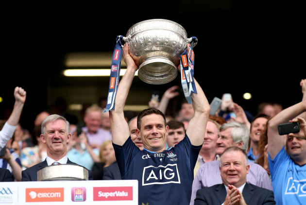Stephen Cluxton lifts the Delaney Cup