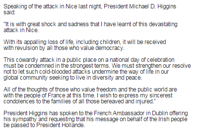 Michael D Higgins statement