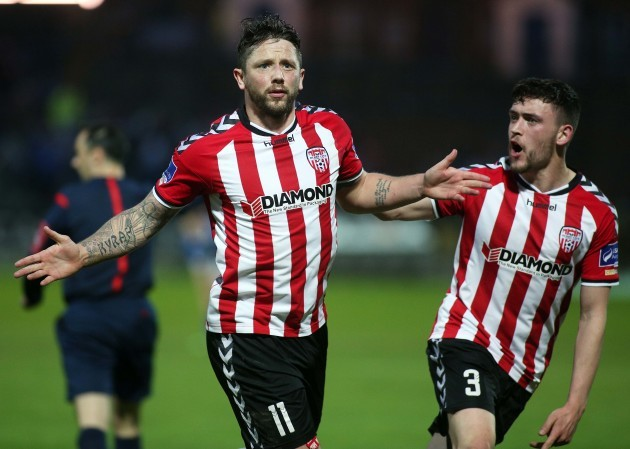 Rory Patterson celebrates his goal with Dean Jarvis