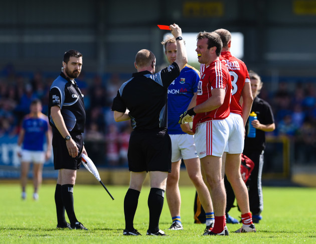 James Loughrey receives a red card