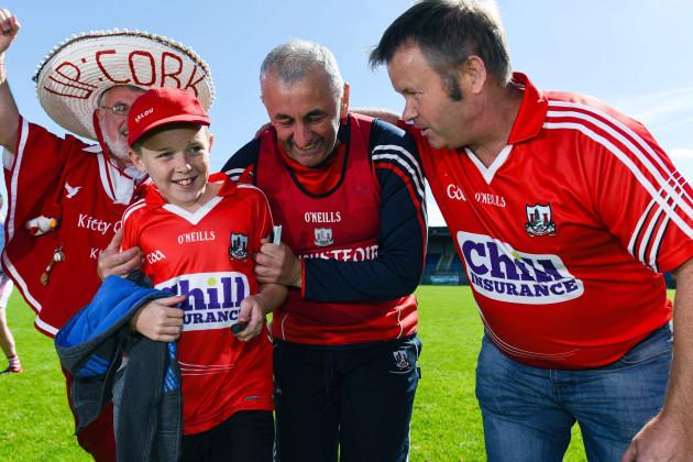 Peadar Healy and Cork fans celebrate