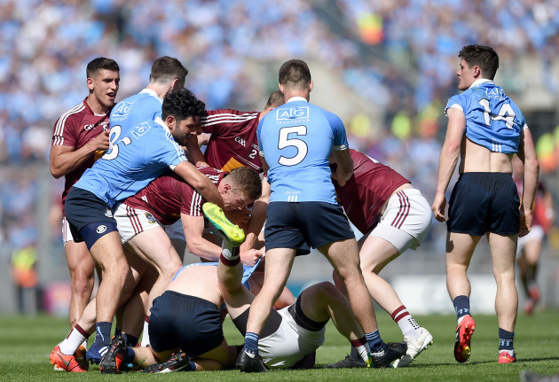Dublin and Westmeath players scuffle