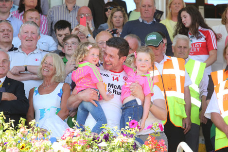 Sean Cavanagh with his daughters Clara and Eva