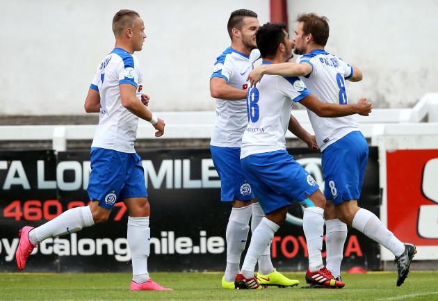 Gleb Rassadkin celebrates scoring a goal with teammates