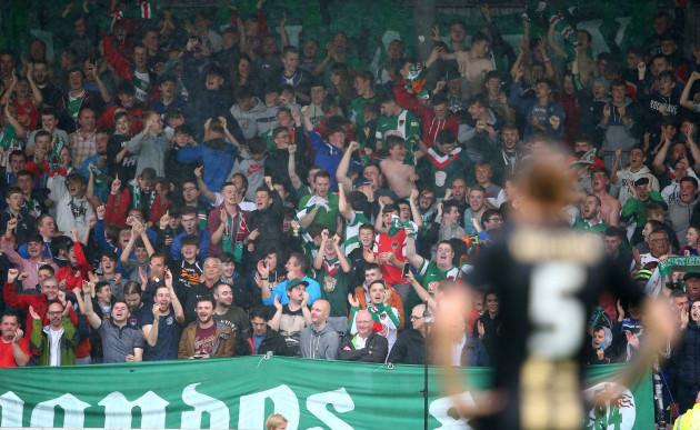 Cork City supporters celebrate a goal