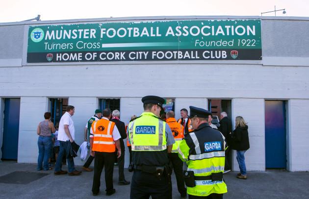 Garda on duty outside Turners Cross ahead of tonight's game