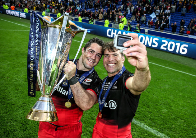 Brad Barritt and Schalk Brits celebrate