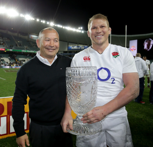 Eddie Jones and Dylan Hartley celebrate with the Cook Cup