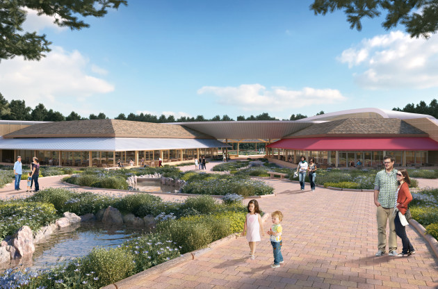 Artist's impression of the north entrance to the Village Centre~Center Parcs Longford Forest
