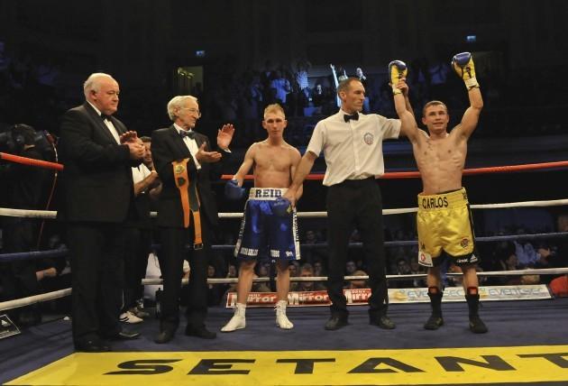 Carl Frampton celebrates his victory over Gavin Reid