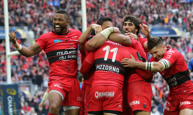 Toulon's Delon Armitage Chris Masoe and Juan Fernandez Lobbe celebrate Bryan Habana's try
