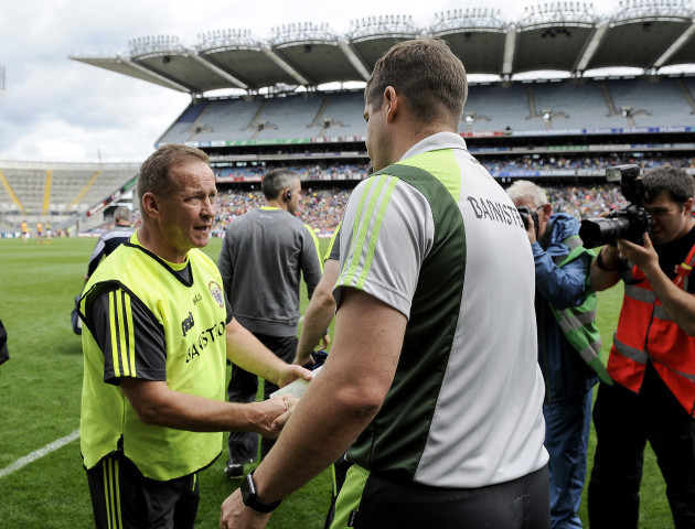 Colm Collins Eamonn Fitzmaurice shake hands after the game