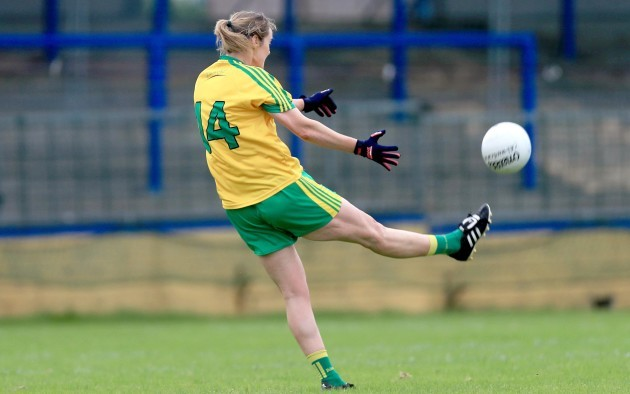 Yvonne McGonagle scores the winning point with the last kick of the game