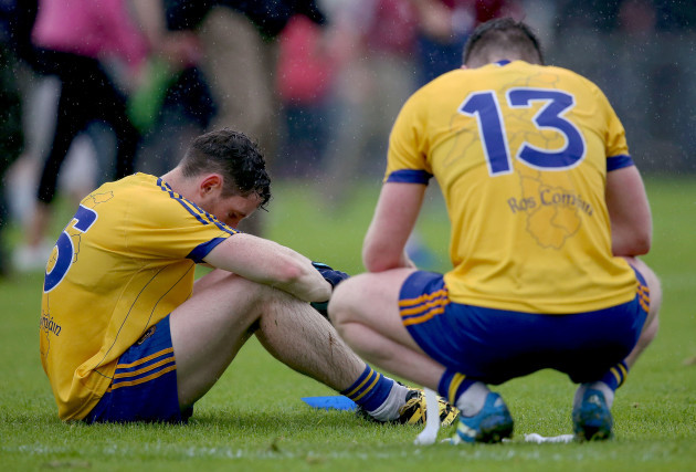Cathal Cregg and Ciaran Murtagh dejected after the game