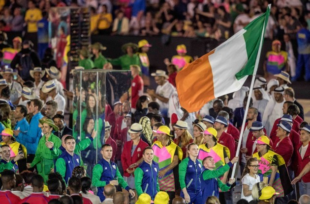 Paddy Barnes leads Team Ireland out at the Opening Ceremony