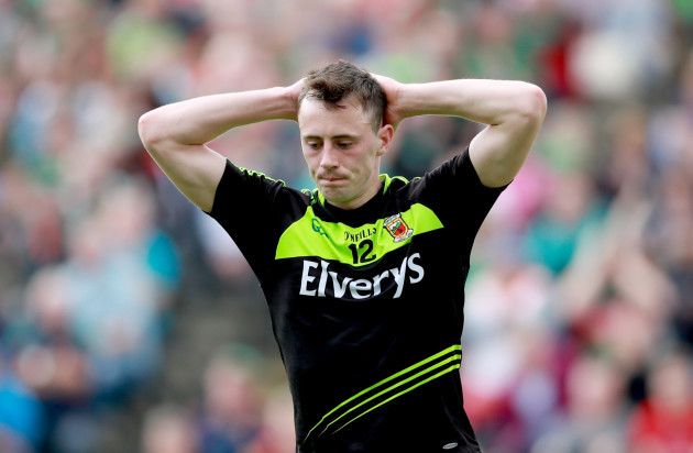 Diarmuid O'Connor reacts to a missed chance