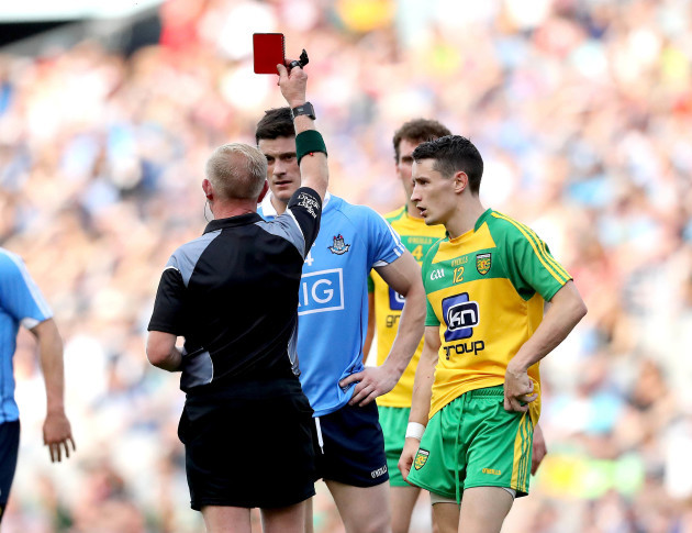 Diarmuid Connolly is sent off by Referee Ciaran Branagan