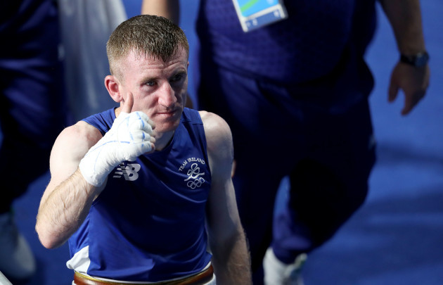 Paddy Barnes gives a thumbs up to supporters after the fight