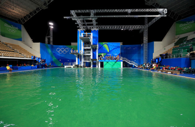 One of the pools at the Olympics has turned green and the ...