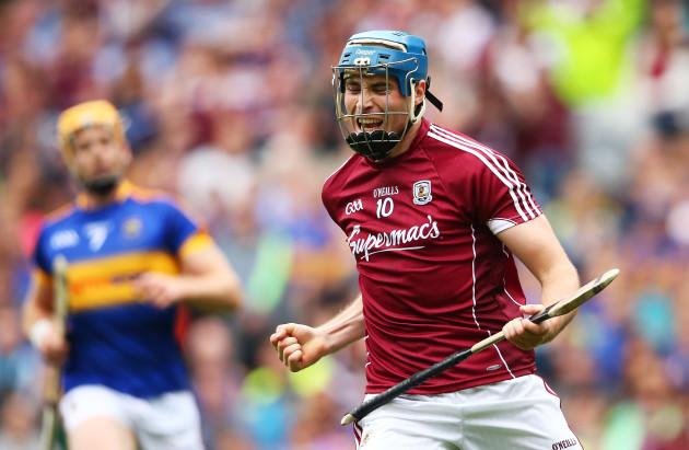 Conor Cooney celebrates scoring  a goal