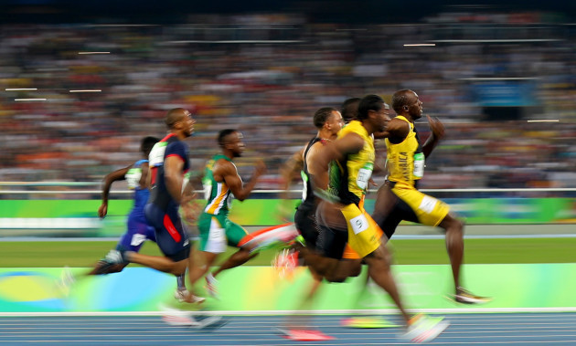 Usain Bolt on his way to winning the 100m Final