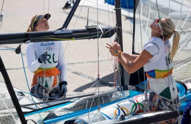 Andrea Brewster and Saskia Tidey prepare their boat