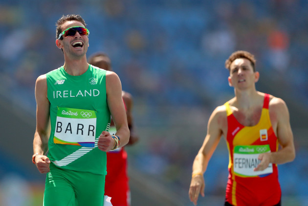 Thomas Barr celebrates after his heat