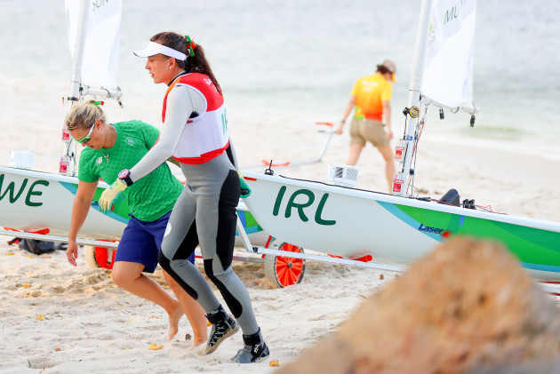 Annalise Murphy returns to shore after her race was called off
