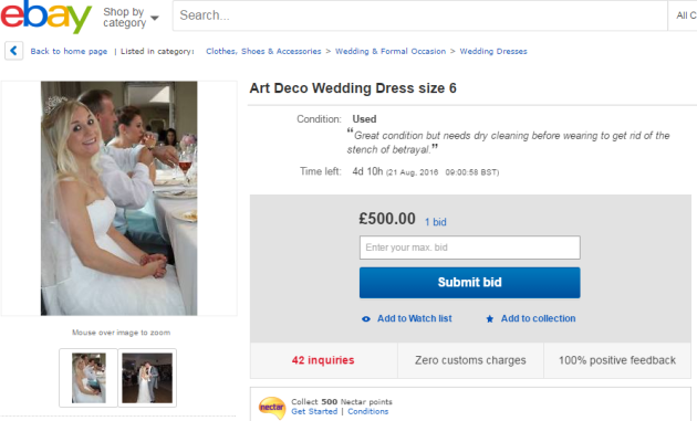 This bride is selling her wedding dress on eBay to fund her divorce