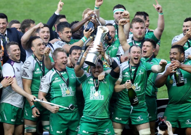 Connacht's Bundee Aki lifts the trophy