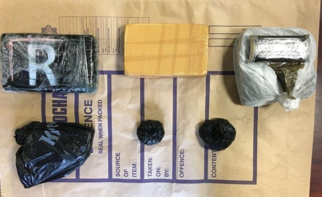 Garda Heroin, cocaine and cannabis seizure. Two me