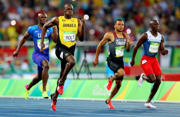 Usain Bolt on his way to winning